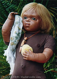 JABRO With Aboriginal Toddler Doll Looking at Viewer and Smiling